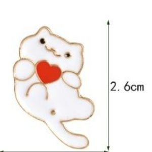 5/$24 White Cat with Heart Pin Brooch
